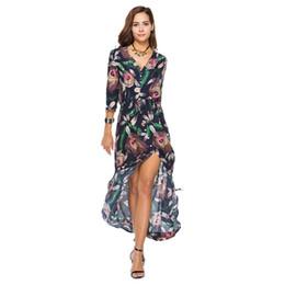Impression urbaine en Ligne-Robes longues longueur de cheville robes imprimées coude taille élastique simple boutonnage col en V dentelle loisirs urbains 23