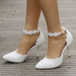 серебряный закрытый носок для новобрачных Скидка 2019 белые кружевные свадебные туфли женщины на высоких каблуках тонкие каблуки острым носом свадебные каблуки