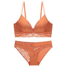 Sutiã de laranja underwire on-line-Francês sexy V profundo conforto de renda sutiã mulheres sem underwire laranja commode bra set
