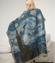 Pittura d'arte del gufo online-LOFT coperta moda morbido divano auto scialle sciarpa disegno a maglia INS Owl pittura a olio cielo notturno arte arazzo coperta multiuso