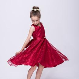 Mädchen Festzug Kleid eine Linie V-Ausschnitt ärmellos Perlen Spitze Blumenmädchenkleider Abendgarderobe A902 von Fabrikanten