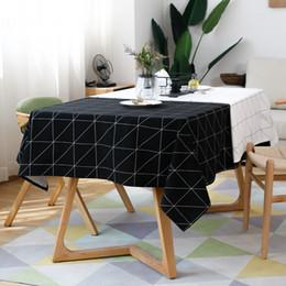 vêtements en lin blanc noir Promotion Moderne Carré Plaid Noir Et Blanc Table Vêtements Tissu Coton Lin Table Basse Couverture De Couverture Nappe Maison Ktichen Décoration