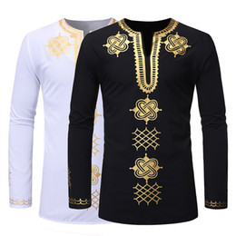 african print men designs Promo Codes - MoneRffi Men African style Traditional Dashiki Long Sleeve Shirt Design Men Shirt Spring Autumn Clothing Chemise Homme