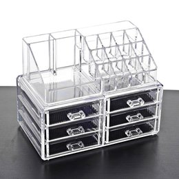 clear acrylic square box Promo Codes - New Clear Acrylic Makeup Storage Case Nail Polish Rack Lipstick Cosmetic Storage box Holder Makeup Brush Makeup