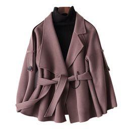 Primavera mujer abrigos de piel online-80% Mujeres Abrigo de lana Chaqueta femenina Coreano Vintage Primavera Otoño Mujeres Tops Abrigos de lana de doble cara Abrigo de piel de mujer ZT1664