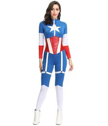 Donne operate tute online-Sexy Captain America Costume Cosplay Donne Zentai Jumpsuit Fancy Party Dress Up Supereroe MS4385