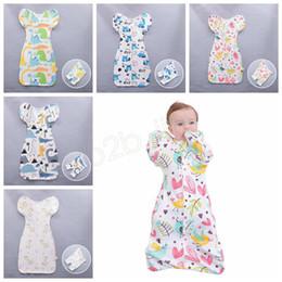 Sacs de couchage manche bébé en Ligne-Coton nouveau-né Swaddle Blanket Wrap Baby Infant Sleeping Bag Sleepacks vêtements avec détachable manches longues barboteuse Floral Apparel LJJA2736