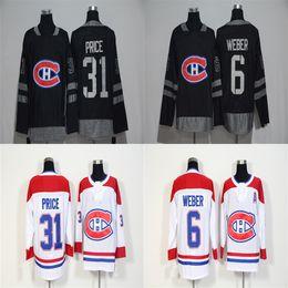 Лучшие цены на хоккейный джерси онлайн-2018 New Brand Mens Montreal Canadiens 31 Цена 6 Weber White 100th Black Jersey Лучшее качество Дешевые хоккейные майки
