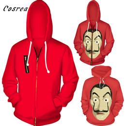 Красный фильм с капюшоном онлайн-Фильм Сальвадор Дали Косплей Zipper фуфайки Hoodie Halloween Party La Casa De Papel Маска красная куртка пальто для женщин и мужчин