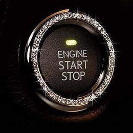 Perillas de diamantes de imitación online-Anillo cristalino del coche de la decoración del Rhinestone del emblema del coche de la etiqueta engomada Accesorios de coches para el botón de inicio automático del motor Llave de contacto perillas