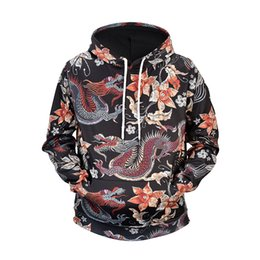 chinese hip hop fashion Promo Codes - Ancient Chinese Dragon Print Fashion Hoodie Streetwear Mens Hip Hop Hoodie Sweatshirt Casual Floral Pullover Cotton Autumn 2019