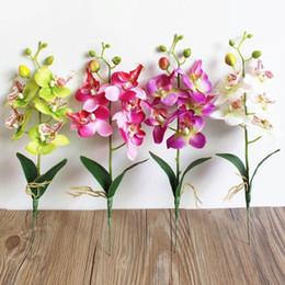 Buquê de flores de orquídeas on-line-DIY Artificial Orquídea Borboleta Seda Flores Falsas Moda Flores Artificiais Bouquet Phalaenopsis Casamento Decoração de Casa Planta Falsa