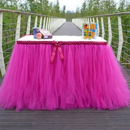 belle decorazioni del panno Sconti Bella Tabella Gonne Tulle Tutu Gonna da tavola Decorazione di nozze panno per il matrimonio di Natale Festival Party forniture di favore