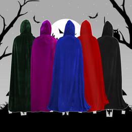 Manteau diable noir en Ligne-Adulte Halloween Party cosplay Vêtements Long Black Hooded Cape La grande mort Cape cosplay diable Cape