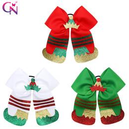fasce di piume Sconti Arco di allegria di Natale con fascia elastica per capelli per ragazze Scarpe con glitter per cappello Cinturino in gomma Decorazione natalizia Accessori per capelli per feste regalo
