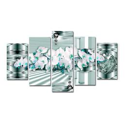 Orquídeas pinturas lienzo online-Sala de estar Decoración para el hogar Impresiones en lienzo Póster 5 Piezas Orquídeas Flores Pinturas Arte de la pared modular Imágenes abstractas (Sin marco)