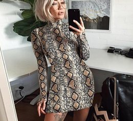 Argentina Nueva moda de las mujeres sexy vestido de patrón de serpiente playa de verano falda ajustada de cintura alta vestido de fiesta del vestido del club nocturno del cuello alto envío libre Suministro