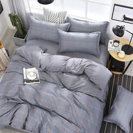 Laranja cinza conjunto de cama on-line-4pcs / set de alta qualidade listras laranja de alta qualidade Grey cama Set Linings Bed Duvet Cover Folha de cama Fronhas Cover Set