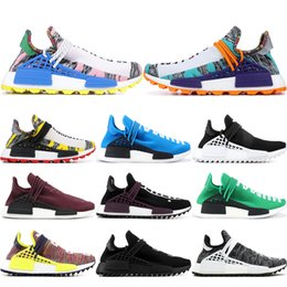 35fb5da36696c Pharrell Williams Human Race Hu Trail X Men Running Shoes Burgundy Yellow Sun  Glow Solar Pack Womens Trainers Sports Sneakers 36-45 affordable sunning  shoes