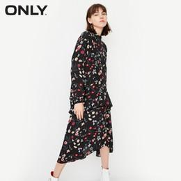 Только женские платья онлайн-Only Women Цветочное Асимметричное платье с длинными рукавами и длинными рукавами | 117307534 J190529