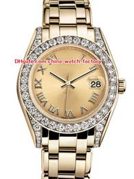 relojes amarillos Rebajas 12 estilo superventas de alta calidad 31 mm 36 mm Pearlmaster Datejust 81298 diamante bisel 18 k oro amarillo automático para mujer relojes
