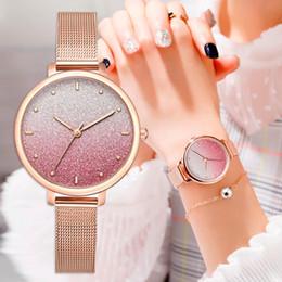 Assista cinto rosa para mulheres on-line-Mulher de Luxo Cinto De Metal Pulseira Relógios Para As Mulheres Rose Pink Estrelado Relógios De Pulso Casual Senhoras Esportes Relógio de Quartzo Drop Shipping