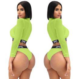 2019 swimwear madura Venda quente Mulheres Sexy Bikini Set Praia Swimwear Swimsuit Maiô 2019 Carta de Verão Impresso Malha Verde Underwear Maiôs