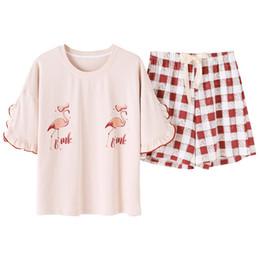 Conjunto de verano de manga corta de punto de algodón pijama de las mujeres niñas lindas de dibujos animados camisones pantalones pijama conjuntos de ropa de dormir pijamas de moda desde fabricantes