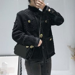 abrigos de invierno de diseño coreano Rebajas 2019 Pequeño Espesor Fresco Escudo suelto Bf Estilo Coreano Diseño informal de abrigo suelto Sensación Mujer Otoño Invierno Vintage Mujer E505