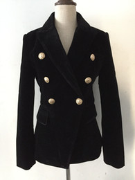 черная металлическая куртка Скидка 2019 высокое качество металла Лев пряжки классический двубортный гладкий бархат пиджак черный вино красный королевский синий темно-синий