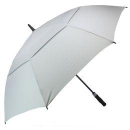Ombrelli uomini online-Ombrello da golf per uomo Automatico aperto Ombrelli antivento Extra Large Oversize Double Canopy Sfiato impermeabile Stick 62 pollici Colore grigio