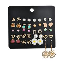 20 pares de esmalte estrella mariposa búho Stud pendientes conjunto mujer Color oro Metal flor del corazón pendiente joyería de las muchachas E2911 desde fabricantes