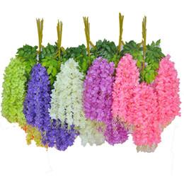 Décorations de lierre en Ligne-Fleurs de lierre artificielles fleur en soie Wisteria fleur de vigne rotin pour le mariage décorations de maîtresses Bouquet guirlande maison ornement110cm / 75cm