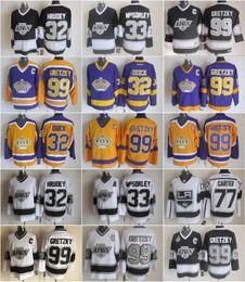 jérsei do hóquei dos reis do la Desconto 32 Jonathan Quick Jersey Homens 33 Marty McSorley 77 Jeff Carter 99 Wayne Gretzky LA Kings Hóquei Gretzky Vintage Jerseys