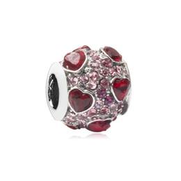 Canada Coeurs rouges avec petits breloques en alliage strass pour Pandora Bracelet chaîne serpent ou collier bijoux de mode en vrac Perle Offre