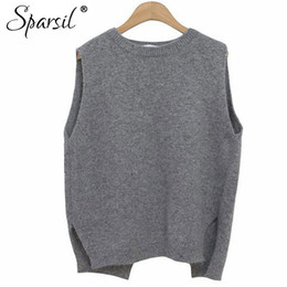 Sparsil Women Winter&Autumn O-Neck Cashmere Blend Sleeveless Vest Sweater Korean Style Fashion Lady Knitwear Jumper von Fabrikanten