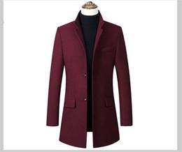 koreanische graue männer langer mantel Rabatt Luxus dicken Herren Mantel Herbst Designer schlanke einfarbige Wollmantel männlichen Stehkragen Mantel