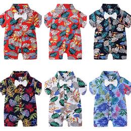 2019 animal raposa cinza Infant filhos Designer roupa dos meninos macacãozinho Bow tie Floral print Infantil Macacão bebê Verão Pijamas Roupa havaiana CZ526 estilo