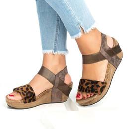 Léopard sandales gladiateur en Ligne-Femmes Léopard Plate-Forme Plate-Forme D'été Gladiateur Sandales Chaussures Dames Sexy Partie Cheville Strap Sandales Chaussures Grande Taille 34-43