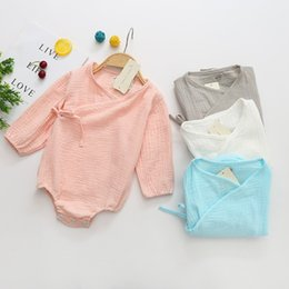 Meninas de algodão orgânico on-line-Outono bebê menina romper moda manga comprida macacão de algodão Macacão de algodão fino algodão macacão onesies recém-nascidos