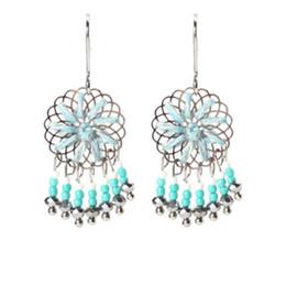 красивые простые серьги Скидка New Fashionable Simple Handwoven Earrings Hand Knitted Beautiful Flowers  Tassels Earrings For Best Presents