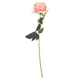 Rosas champagne online-Rosa planta de simulación de terciopelo rosas decoración del hogar flores artificiales para la boda decoración de la mesa en casa rosa champán
