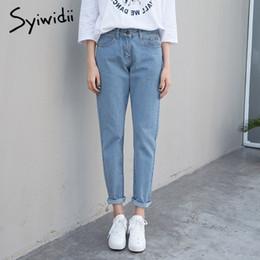 Cotton sky blue Boyfriend Jeans für Frauen mom hohe Taille Jeans plus Größe 5XL Haremshosen Denim heißen Verkauf 2019 Street