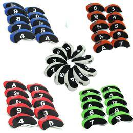 Pacotes de janelas on-line-Número Tag Clube De Golfe Cunha Cabeça De Ferro Cobre Headcovers Caso Protetor com Vitrine, Material de Neoprene 10 Pacote, 6 Cores para escolher