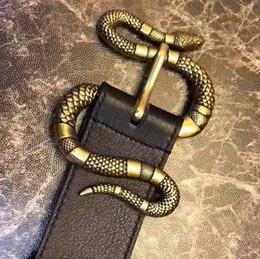 Cinture di serpente per gli uomini online-2019 best double big snake fibbia cintura di marca fashion designer di lusso in vera pelle g damier cinture da uomo per uomo 115cm1564488894864