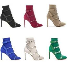 Stivali stiletto designer online-Ankle Booties Donne calzino Studs Boot dal design di lusso scarpe di cuoio rasato Stretch Knit calzino tacco a spillo in Australia Stivali invernali A2