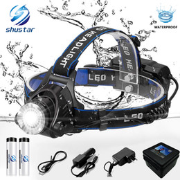 Shustar faro de pesca faro LED 6000 lúmenes XM-L2 XML-T6 Zoomable lámpara de cabeza a prueba de agua linterna linterna uso de la lámpara 18650 desde fabricantes