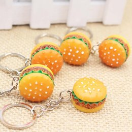 food keychains Coupons - Original Creative Cute Hamburger Keychain Simulation Food Hamburger Pendant Key Ring Novelty Key Chain Christmas Birthday Gift DHL