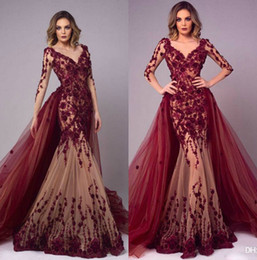 pink strap long prom dresses Promo Codes - 2019 Arabic Burgundy Evening Dresses With Overskirts V Neck Long Sleeves Mermaid Prom Dress Lace Appliqued Floor Length Party Gowns custom