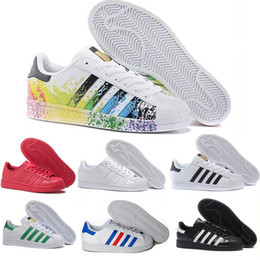 Chaussures pour adolescents en Ligne-2016 brand superstar white holographic rainbow color teen superstar 80s proud designer superstar ladies men's casual shoes 36-45